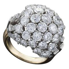 Boucheron Paris 1950's Diamond Gold and Platinum Bombé Ring