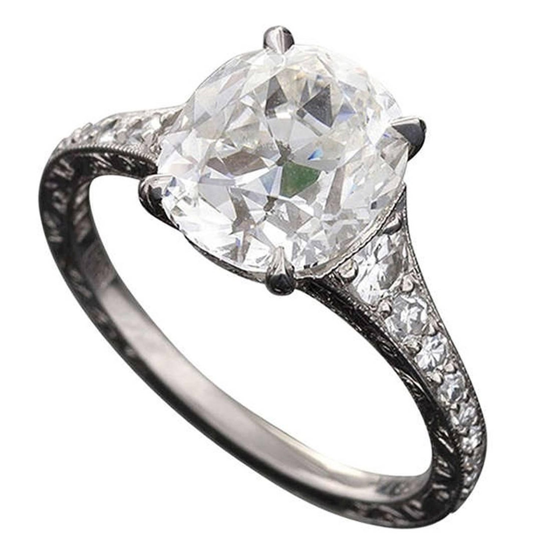 Oval Cushion Cut 3 02 Carat Gia Certified Diamond Platinum