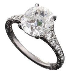 Oval Cushion-Cut 3.02 Carat GIA Certified Diamond Platinum Engagement Ring