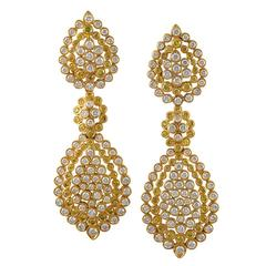 1980s Van Cleef & Arpels Paris Diamond Gold Day into Evening Earrings