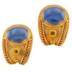 De Vroomen Cabochon Sapphire Gold Ear Clips
