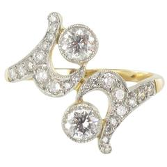 French Diamond Gold Platinum Ring