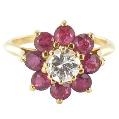 1970s French Ruby Diamond Gold Cluster Ring