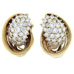Park Place Antique Jewelry Jose Hess Artistic Diamond Gold Cornucopia Earrings