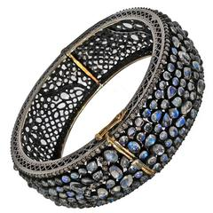 Lauren Harper Blue Moonstone Diamond Silver Gold Bubble Cuff Bracelet