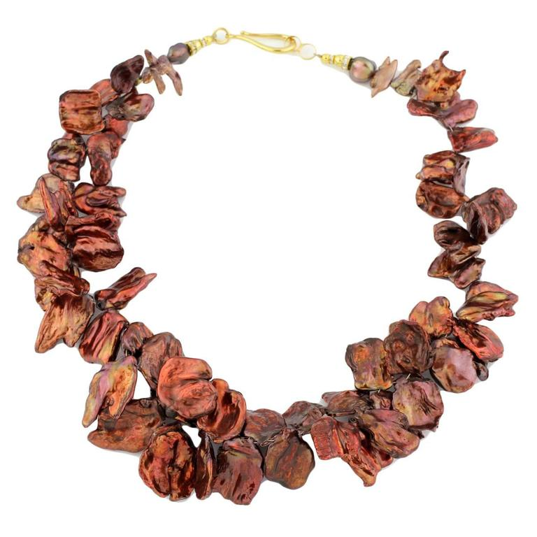 Coppery Red/Goldy Radiant Keshi Pearl Necklace For Sale