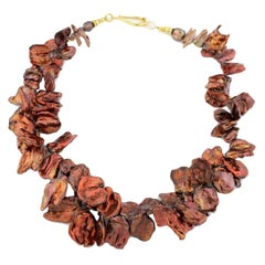 Gemjunky Boho Chic Large Coppery Red/Goldy Radiant Keshi Pearl Cocktail Necklace