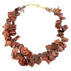 Coppery Red/Goldy Keshi Pearl Necklace