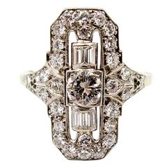 Elegant Art Deco Diamond Gold Dinner Ring