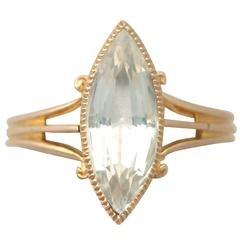 1890s 2.33 Carat Aquamarine and Yellow Gold Cocktail Ring