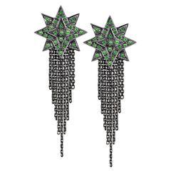 Ana de Costa Blackened White Gold Green Tsavorite Star Chain Drop Earrings