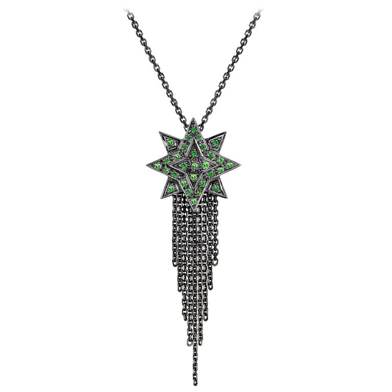 Ana de Costa Blackened White Gold Green Tsavorite Star Drop Chain Pendant