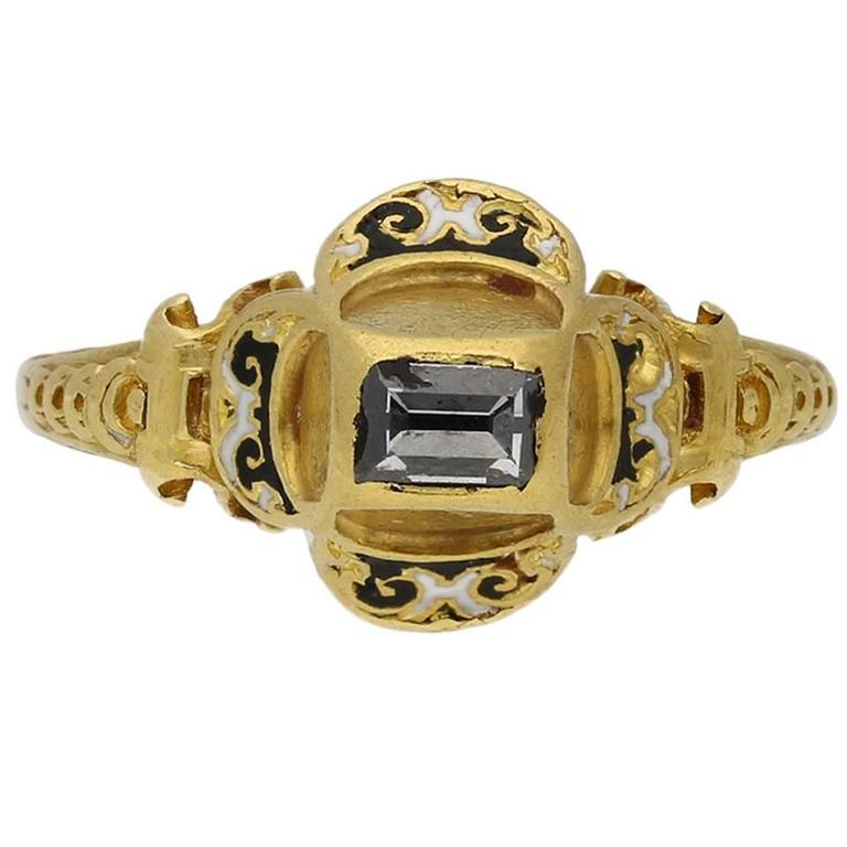 Museum Quality Tudor Table Cut Diamond Gold Ring For Sale