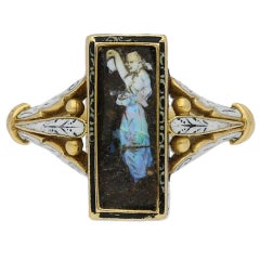 Carved Opal Ring Attributed to Wilhelm Schmidt for Giuliano