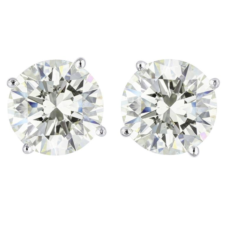 8.06 Carats Diamonds Gold Stud Earrings For Sale