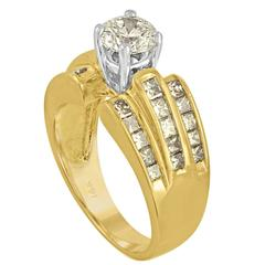 0.90 Carat Brilliant Diamond Two-Color Gold Ring