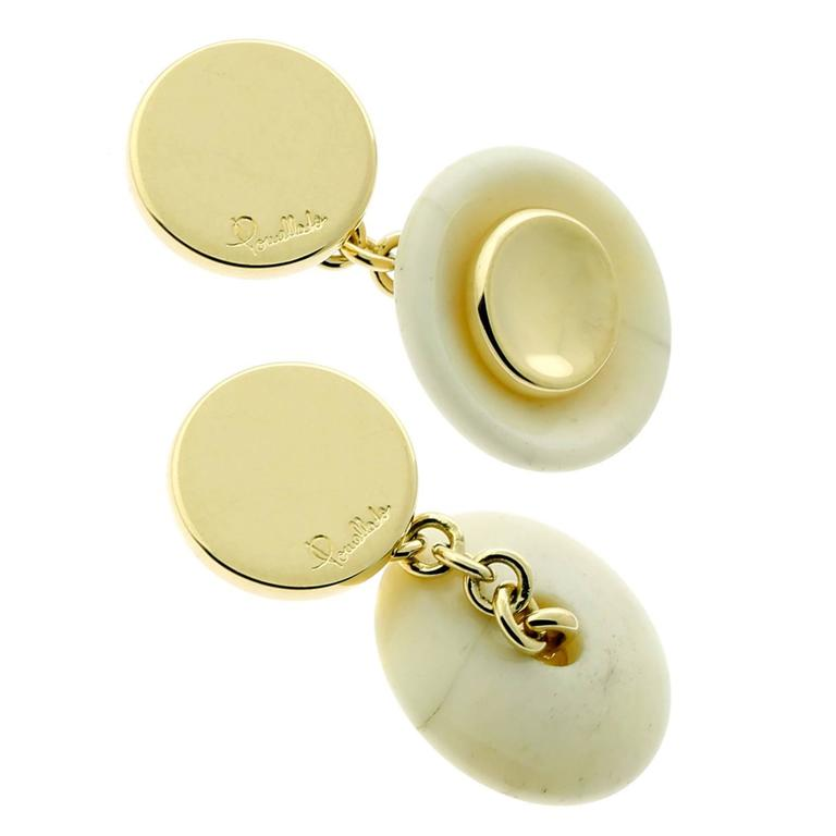 Pomellato Marble Gold Cufflinks For Sale
