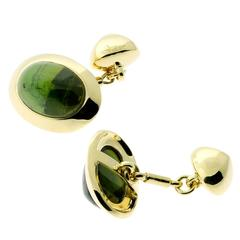 Pomellato Green Tourmaline Gold Cufflinks