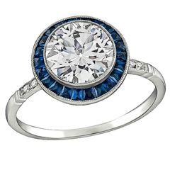 Striking 1.74 Carat Diamond Platinum Engagement Ring