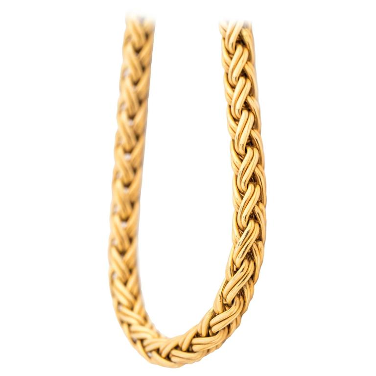1960s Tiffany & Co. 14 Karat Yellow Gold Wheat Braided Chain Necklace