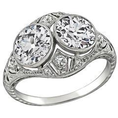 Early 20th Century 2.60 Carat Double Diamond Platinum Ring