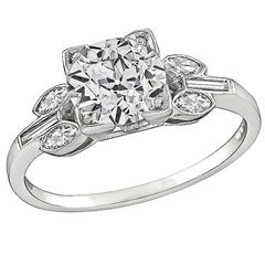Art Deco 1.56 Carat GIA Certified Diamond Platinum Engagement Ring