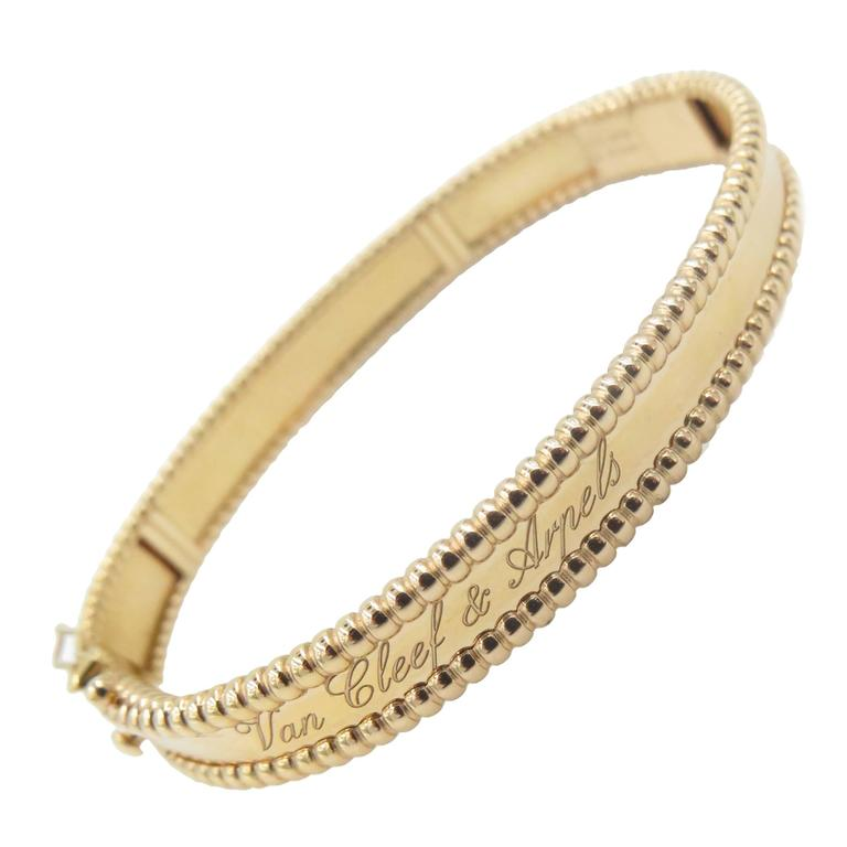Van Cleef Arpels Gold Perlee Signature Bangle Bracelet For