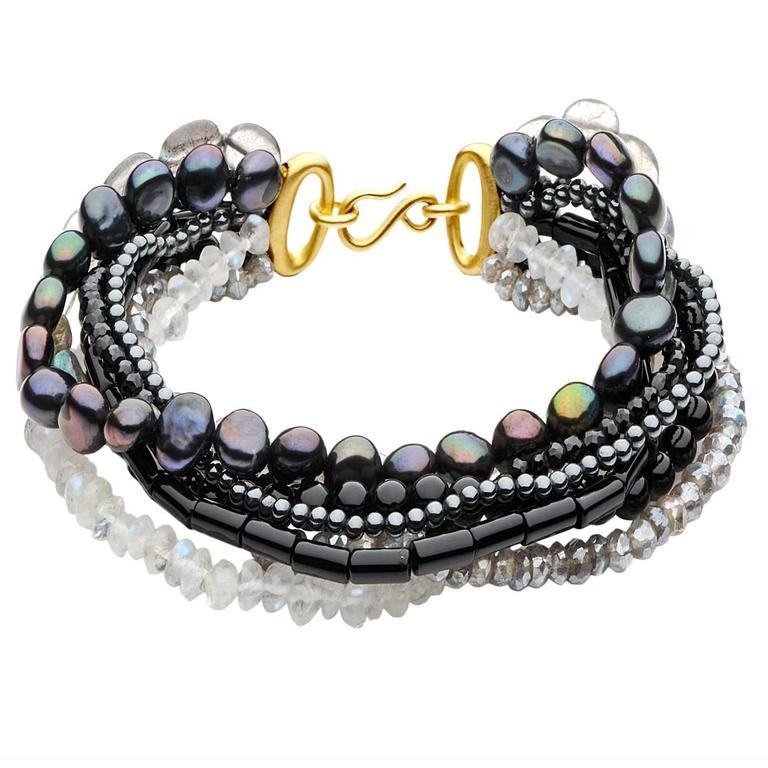 Antonio Bernardo Moonstone Labradorite Spinel Pearl Matte Gold Mix Bracelet For Sale