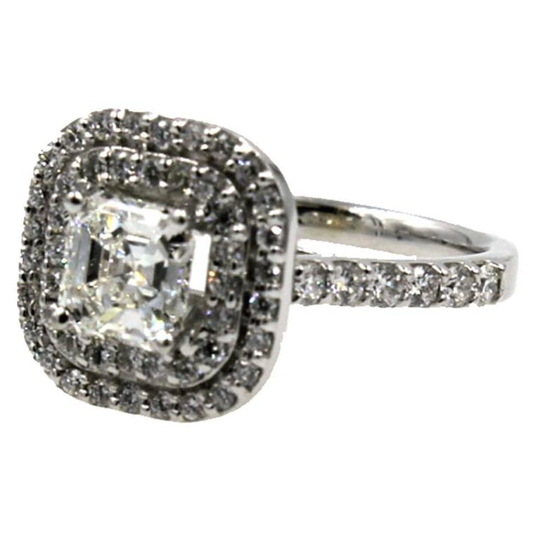 1 5 carat square emerald cut halo engagement ring