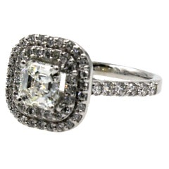 1.5 Carat Square Emerald Cut Diamond Halo Engagement Ring GIA Certified