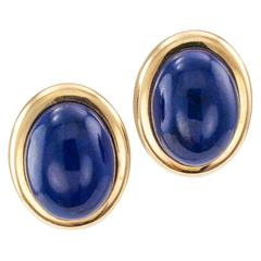 1970s Lapis Lazuli Gold Button Ear Clips