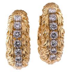 1960s David Webb Diamond Gold Hoop Earrings