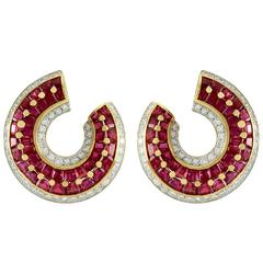 Genuine Ruby Diamond Gold Wrap Earrings