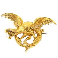 French Antique Gold Dragon Brooch