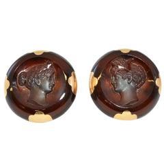 Carved Carnelian Gold Earrings