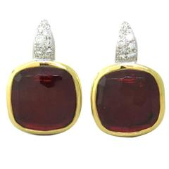 Pomellato Scheherazade Rhodolite Diamond Gold Earrings