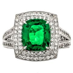 Tsavorite Garnet Diamond Platinum Ring