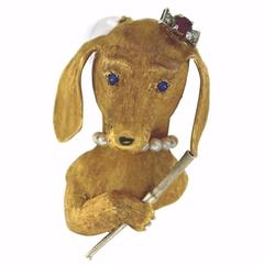 Amazing Ruby Sapphire Diamond Gold Dachshund with Pearl Necklace Dog Brooch