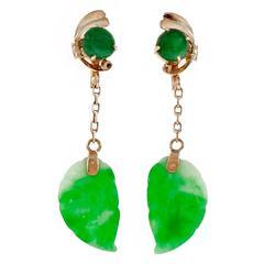 Jadeite Jade Carved Gold Dangle Earrings