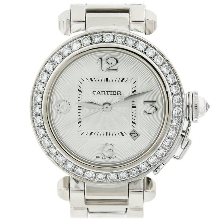 Cartier White Gold Diamond Bezel Pasha de Cartier Wristwatch Ref 2528