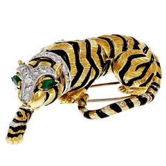 David Webb Emerald Diamond Gold Platinum Tiger Pin Brooch