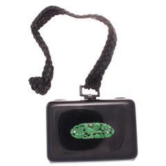 French Art Deco Jade Enamel Diamond Gold Compact