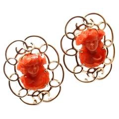 Raymond Yard Two Carved Coral Cameo Gold Pins Brooches