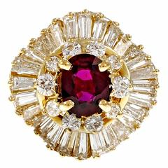 1960s Ruby Diamond Gold Ballerina Ring
