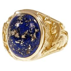 Natural GIA Cert Lapis Gold Egyptian Revival Ring