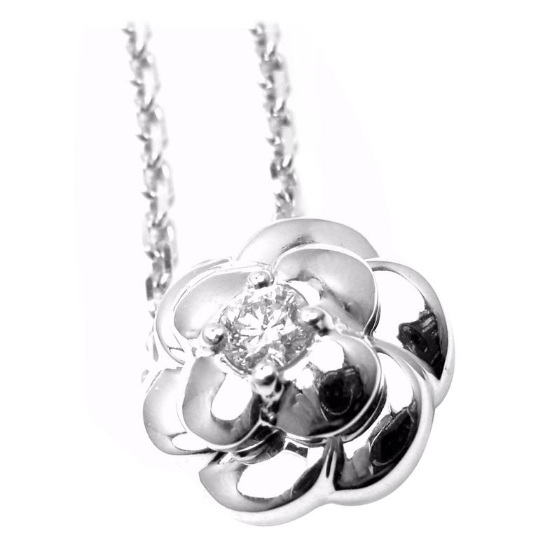 Chanel Diamond Gold Camelia Pendant Necklace