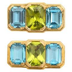 Michael Kanners Three-Stone Peridot Blue Topaz Gold Cufflinks