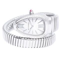 Bulgari Stainless Steel Diamond Bezel Guilloche Dial Quartz Wristwatch Ref SP35S