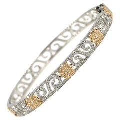 Tiffany & Co. Enchant Diamond Gold Platinum Scroll Bangle Bracelet