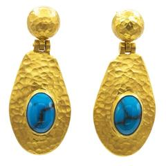 Egyptian Turquoise Thick Gold Vermeil Hammered Oval Dangling Post Earrings